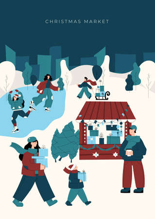 Christmas market poster template with hand drawn characters. Happy people walk between wooden kiosks and buy drinks, food and gifts. Holiday activities in winter town, ice skating. Vector illustration