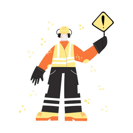 Construction or factory worker wearing hard hat, earmuffs, face mask, safety gloves, work clothing and boots. Worker during covid pandemic with danger sign hazard warning. Health and safety at work 矢量图像
