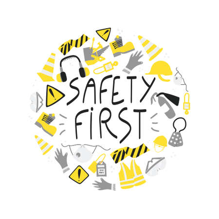 Safety first handwritten phrase poster and sticker design vector. Lettering typography design for Safety and health at work. PPE and safety tools clipart, mask, gloves, vest, boots, extinguisher