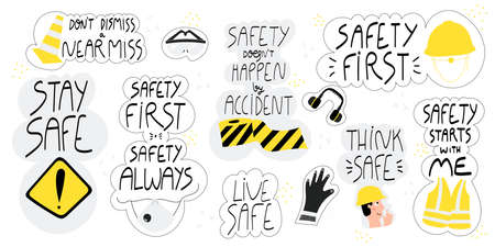 Collection of hand drawn lettering about health and safety at work in production and construction industries. Set of stickers-safety first, stay safe, live safe. Safety first quotes and concepts 矢量图像