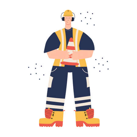 Road Construction or factory worker wearing hard hat, earmuffs, high visibility vest, work clothing and boots. Worker with traffic safety cone. Health and safety at work. PPE