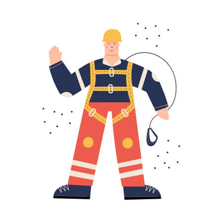 Construction or factory worker wearing hard hat, safety harness, work clothing and safety boots. Man ready to work at height. Health and safety at work. PPE Vettoriali