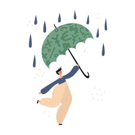 Personal finance, money savings, emergency support fund, personal capital, financial goals, insurance, financial growth concept illustrations. Man using emergency trust fund as umbrella to cover under it in difficult times