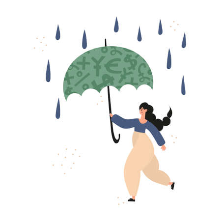 Personal finance, money savings, emergency support fund, personal capital, financial goals, insurance, financial growth concept illustrations. Woman using emergency trust fund as umbrella to cover under it in difficult times