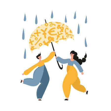 Personal finance, money savings, emergency support fund, personal capital, financial goals, insurance, financial growth concept illustrations. Family of man and woman using emergency trust fund as umbrella to cover under it in difficult times
