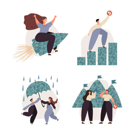 Personal finance, money savings, emergency support fund, investments, personal capital, financial goals, insurance, financial growth concept illustrations. Persons and families managing their financial wealth and emergency risks