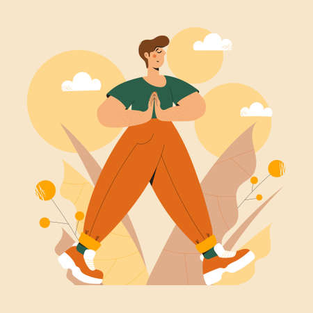 Cute Man practicing mindful walking exercise in nature and leaves. Flat trendy vector illustration