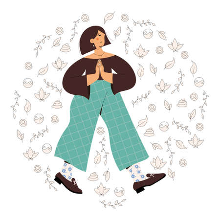 Cute woman practicing mindful walking exercise in nature and leaves. Flat trendy vector illustration Illusztráció