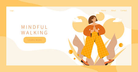 Cute woman practicing mindful walking exercise in nature and leaves. Landing page, banner design