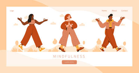 Set of people practicing mindful walking exercise in nature. Concept illustration for meditation. Landing page