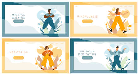 Set of landing pages with people practicing mindful walking exercise in nature and leaves. Concept illustration for meditation, relax, recreation. Illusztráció