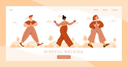 Set of people practicing mindful walking exercise in nature. Concept illustration for meditation, relax, recreation, healthy lifestyle, mindfulness practice. Landing page