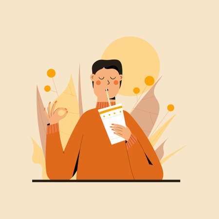 Cute Man practicing mindful eating exercise in nature and leaves. Concept illustration for meditation, relax, recreation, healthy lifestyle, mindfulness practice. Flat trendy vector illustration Vector Illustratie