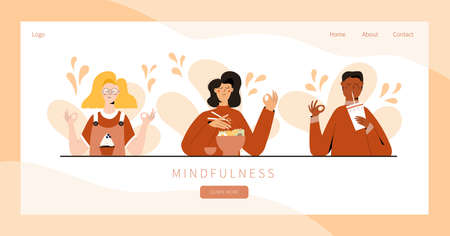 Set of people practicing mindful eating exercise. Concept illustration for meditation, relax, recreation, healthy lifestyle, mindfulness practice. Landing page, banner design Illusztráció
