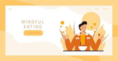 Cute man practicing mindful eating exercise in nature and leaves. Concept illustration for meditation, relax, recreation, healthy lifestyle, mindfulness practice. Landing page, banner design Vector Illustratie