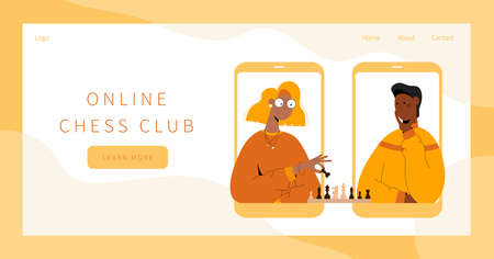 Online chess club landing page.