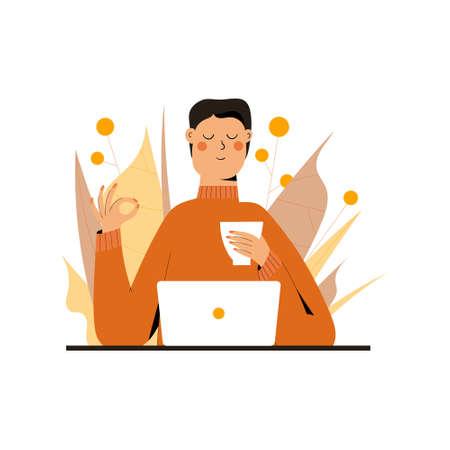 Businessman Meditating and Relaxing Ilustração