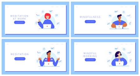 Set of Business people Meditating Vecteurs