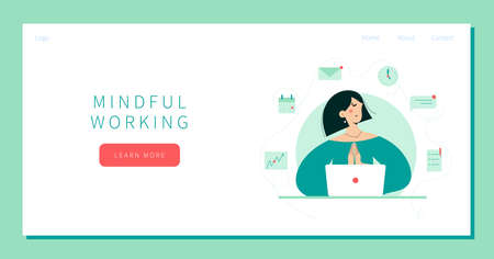 Businesswoman Meditates landing page Ilustração