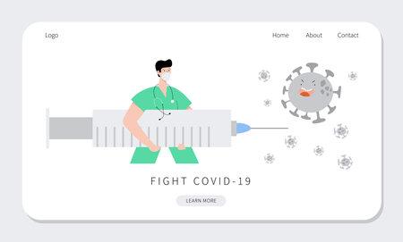 Male doctor nurse holding syringe.COVID 19 Vaccination time web template Vektorové ilustrace