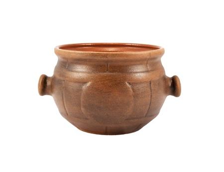 Ceramic pot on white  isolated background Stock Photo