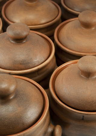 Rows of clay pots photo