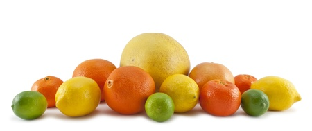 Set of citrus fruit  on white background  Stock Photo