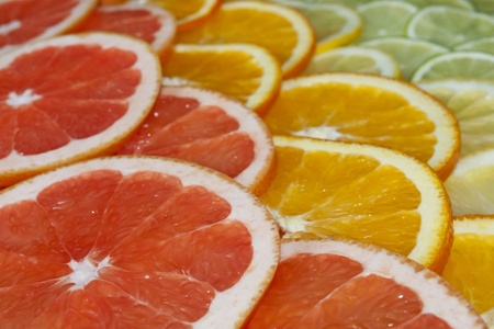 Slices of various citruses