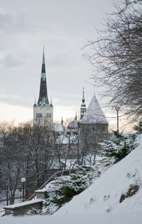 Tallinn, Estonia  View of the Old Town  in winter  Stock Photo