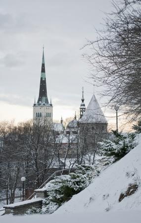 Tallinn, Estonia  View of the Old Town  in winter  Stock Photo