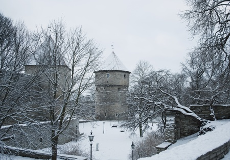 Ancient tower in the old Tallinn in winter  Estonia