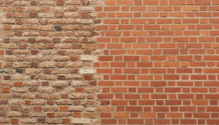 Background of two different pattern brick wall together Stock Photo - 16849580