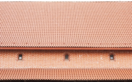The roof is covered with tiles photo