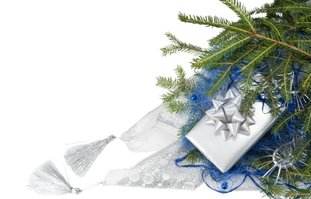 Christmas decoration isolated with gift on the white background