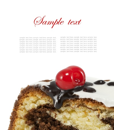 Marble cake with cherry isolated on white background Stock Photo