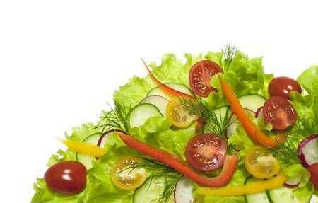Fresh salad with radishes, cherry tomatoes and cucumbers isolated on white background