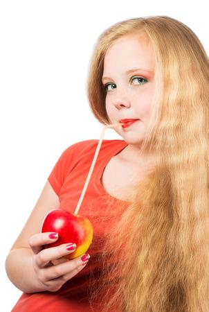 Regan teen girls apple mouth boy