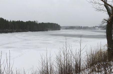 River Yagala in Estonia in winter. February Stock Photo