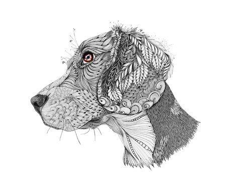 stylized portrait of a beagle, isolated on white background. Hand drawn sketch for T-shirt emblem, or tattoo with doodle, design elements. Artwork.