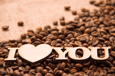 love declaration: coffee and declaration of love Stock Photo