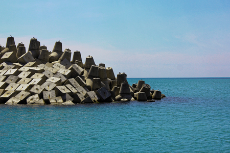 Seawall coastline barrier construction