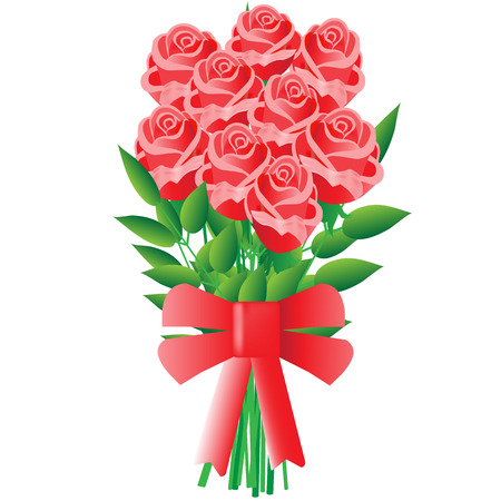 Romantic bouquet of red roses with a bow
