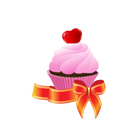 romantic: Romantic gift from cake with red heart and a bow