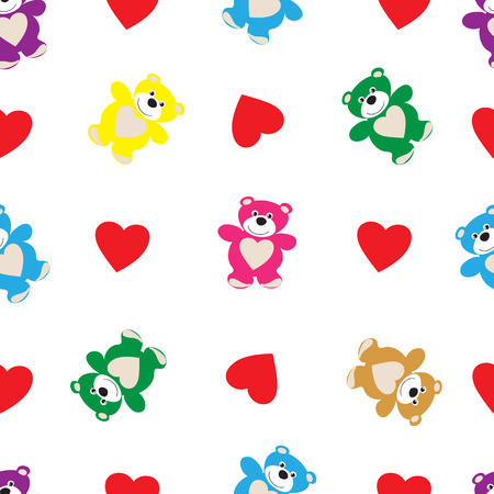 Color bears and hearts, a seamless pattern on a white background for St. Valentines Day
