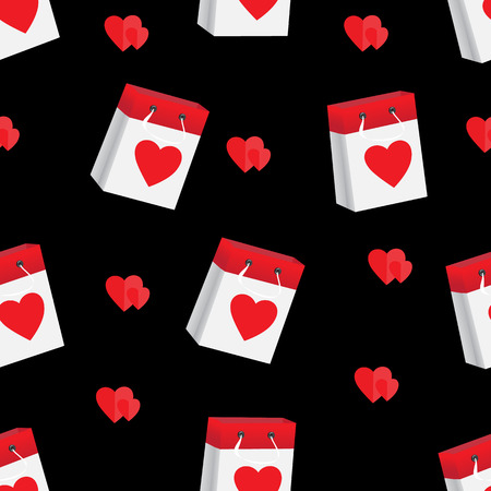Red hearts and paper package on a black background, a seamless vector pattern