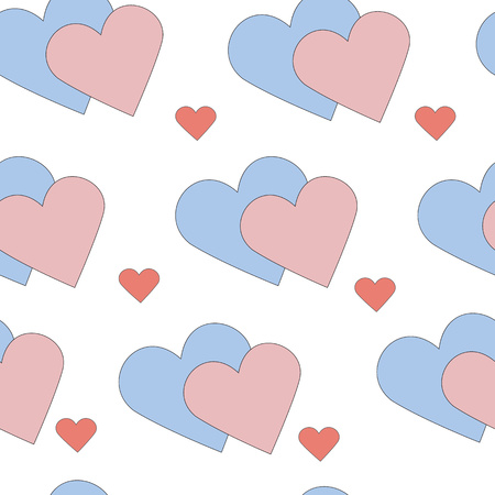 corazones azules: Pink and blue hearts, seamless vector pattern for a background