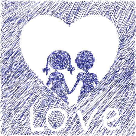 hold hands: The boy and the girl to hold hands, heart and love, the childrens drawing Illustration