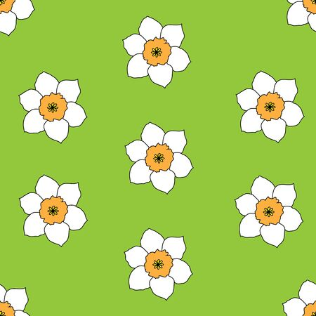 Seamless flower pattern. A vector picture of narcissuses on a green background.