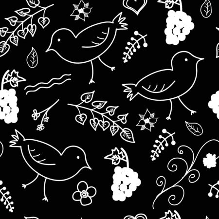 Seamless vector pattern, white leaf and bird pattern on black background. 向量圖像