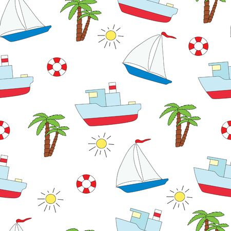 Seamless summer pattern with the boat, the ship, palm trees and the sun on a white background. Vector picture.